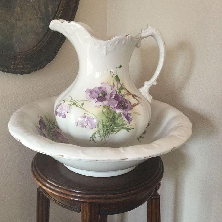 1000 images about vintage pitchers jugs on pinterest cobalt blue pottery and hand painted. Black Bedroom Furniture Sets. Home Design Ideas