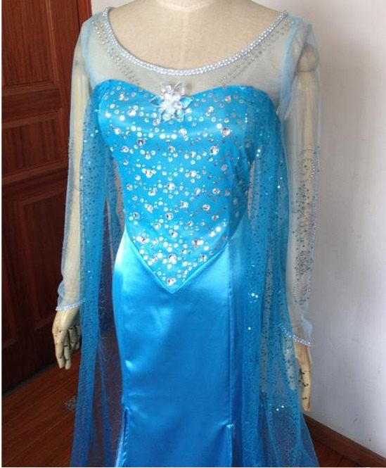 J693 Movies Frozen Snow Queen Elsa Cosplay Costume Deluxe Dress tailorThis seller accepts PayPal