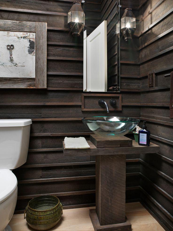 glass vessel sink in rustic bathroom