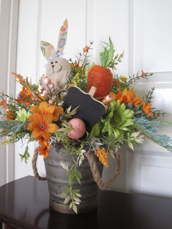 Easter Tablescape Centerpiece, Easter Arrangement, Free Shipping, Floral Arrangement, Spring Flowers, Easter Eggs, Carrot, Hostess Gift