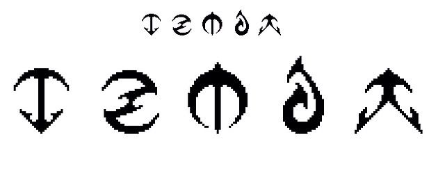 http://minecraftfamily.com  for the best minecraft toys! fake insignia logo things, loosely based on weapons/attack types. left to right: pickaxe/arrow, lightning?/chakram, sword/pickaxe, fire/water, arrow/wind/fire maybe our team might use one in the minecraft faction games?
