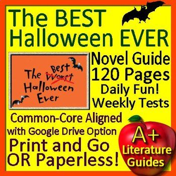 Free up your time with The Best Halloween Ever, a 120 page Common-Core Aligned Complete Novel Study Guide for the novel by Barbara Robinson. It can be used with or without Google Drive (Paperless OR Print and Go) Great for centers! This literature guide has everything that you will need to teach and assess the novel.
