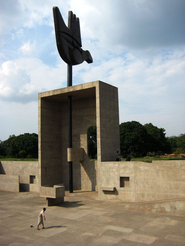 Open hand monument, Chandigarh, India, Le Corbusier. Proposed: 1951, final design: 1964, completed: 1985