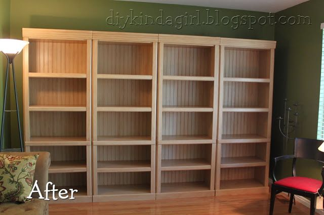 Wait until you see the before.  Believe it or not, these are painted/refinished 1990's laminate/particle board bookshelves.  Beadboard just added for a back... paint/glaze formula for the refinishing right on the DIY girl blog.