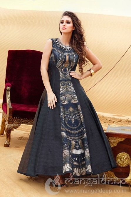 Appealing Black & Grey Silk Readymade Partywear Anarkali Suit
