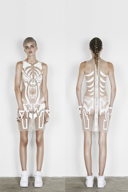 Pinterest-Anne Sofie Madsen collection- I can get inspired from the skeleton texture to make my own starvation themed collection