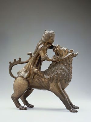 Samson and Lion Aquamanile, Northern Germany (Hildesheim?), mid 13th- early 14th century, Leaded Latten, 13 3/8 x 14 1/2 x 4 1/2 in. Museum of Fine Arts, Boston; Benjamin Shelton Fund 40.233