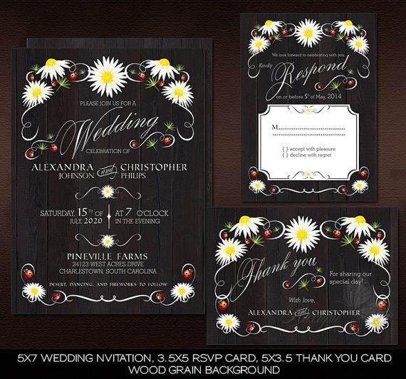 Floral Rustic Chalkboard or Wood Wedding Suite  Daisies & Ladybugs by Ruxique