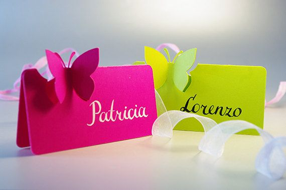30 Place Cards Butterfly Original Calligraphy Cutout by MamaTita, $60.00