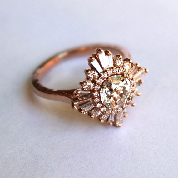Vintage White Sapphire Engagement Ring in Gatsby-esque detail.