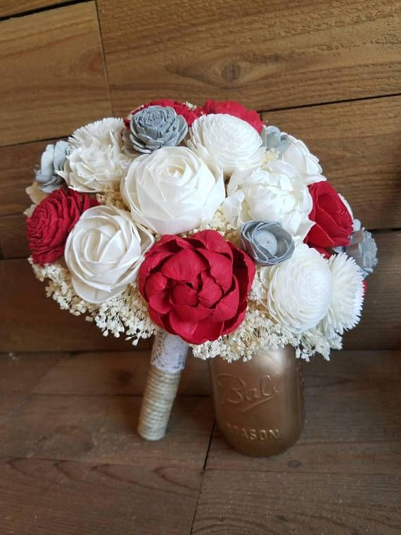 Custom Red and Grey Sola Wood Flower Bouquet dried Flowers | Sola ...