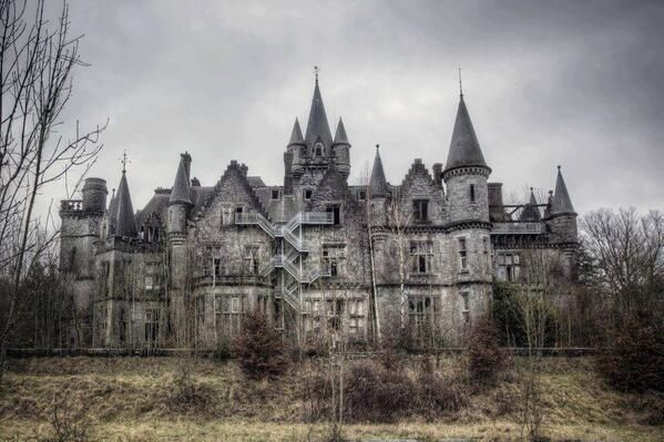 Abandoned Castle in Belgium. It looks enormous - think of the hundreds of servants it took to run such a place!