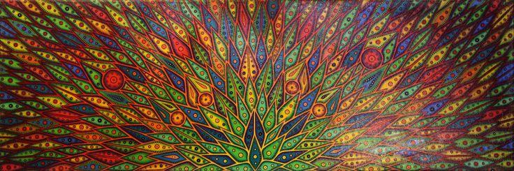 Tableau contemporain : Diffusion de couleurs. œuvre réalisée au pinceau à la peinture acrylique et au Posca sur châssis en bois entoilé en coton. Approximativement 150 Heures de réalisation. Protection : œuvre vernie à la bombe aérosol brillante. Format : 40 cm x 120 cm x 1,7 cm. Pour acheter cette œuvre, rendez-vous sur : http://www.artmajeur.com/fr/art-gallery/gallery/1520011/9421900/diffusion-de-couleurs #diffusion #couleurs #tableau #moderne #peinture #contemporaine #art #abstrait #toile