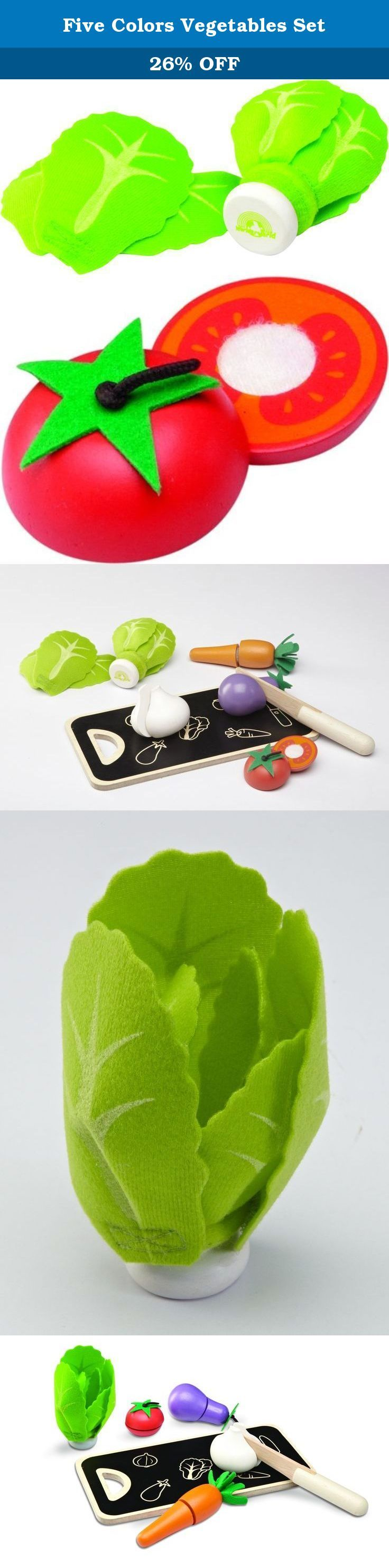 "Five Colors Vegetables Set. WW-4552 Features: -Enjoy pretend play accessory. -Combination of fabric and wood provide peeling function. -Eco-Friendly. -Environmentally friendly rubberwood and strictly using non-toxic paints, dyes and lacquers and formaldehyde free glue. Product Type: -Play food. Color: -Multi Colored. Primary Material: -Wood. Age Group: -2 Years/3 to 4 Years. Dimensions: Overall Height - Top to Bottom: -2"". Overall Width - Side to Side: -5"". Overall Depth - Front to Back:..."