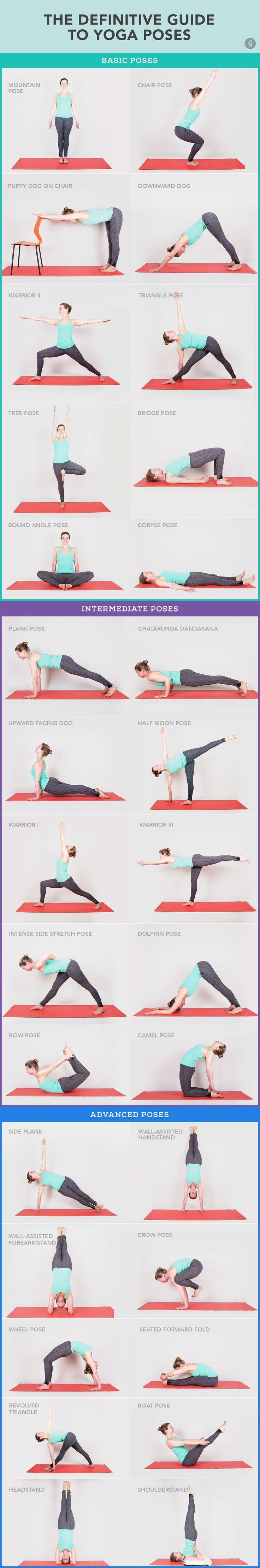30 Yoga Poses You Really Need To Know with .gifs and explanations of each pose if you click through.