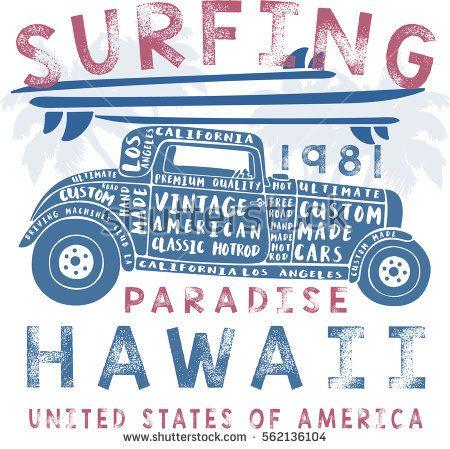 vintage surf car illustration, typography, vector