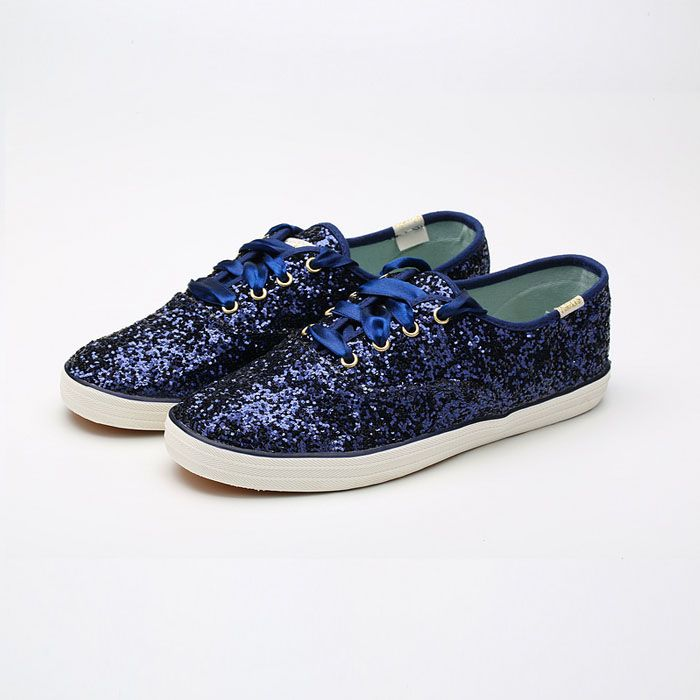 Keds Shoes Womens X Kate Spade New York Champion Glitters Navy Blue