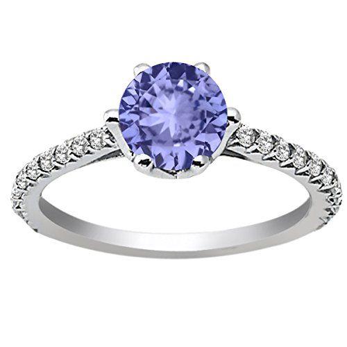 1.34 Ct Round Blue Tanzanite White Topaz 14K White Gold Engagement Ring