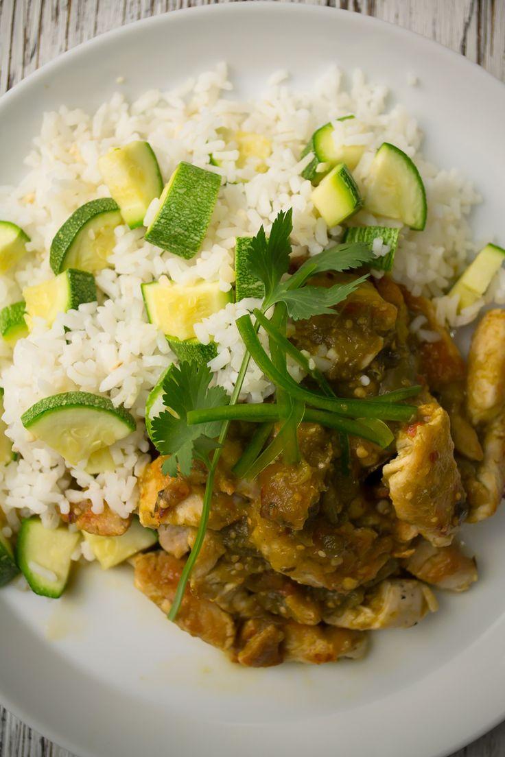 Chicken Breast in Green Sauce and Rice with Butternut Squash - Pechuga en Salsa Verde y Arroz con Calabacita