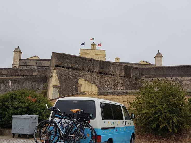 The bus looking at a world heritage in Elvas, Spain.
