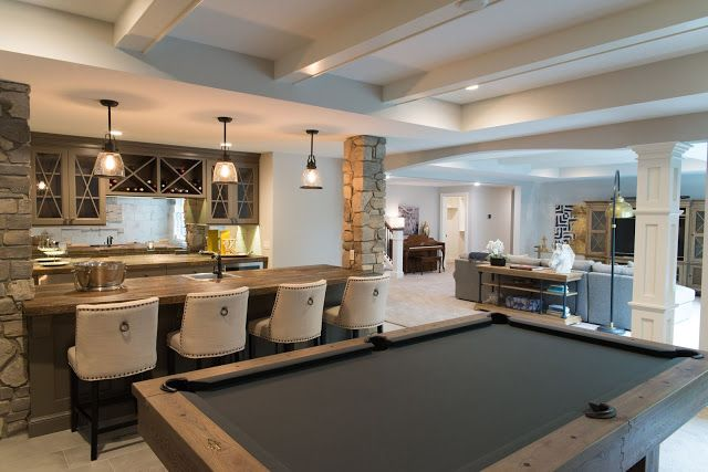 Real Fit Housewife: Welcome to my Home: Our Little Slice of Heaven  bar stone columns pool table wood counter glass mirror tile backsplash pool table