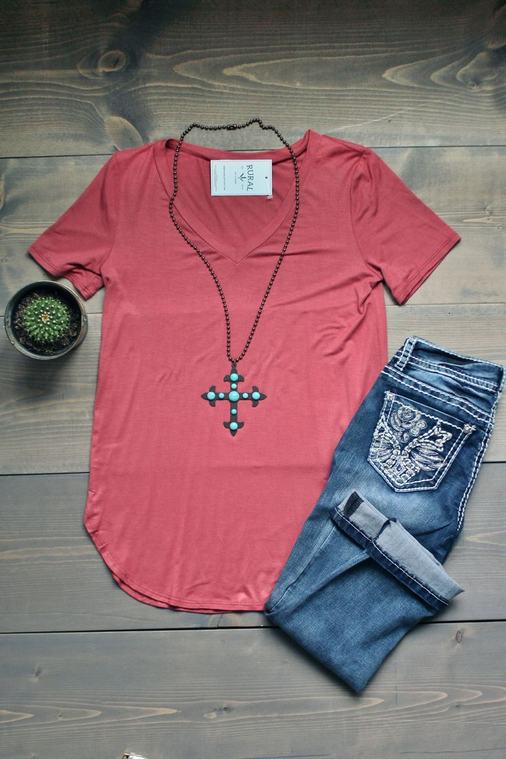 The BEST V Neck | RURAL www.ruralmercantile.com  WANT.   cute tee, cute top, basic, not so basic, comfy, soft, casual, outfit, OOTD, Style, pink, turquoise, girl next door, casual style, pink tee, pink shirt, turquoise necklace, cross necklace, jeans, denim, flatlay, boutique, midwest, missouri