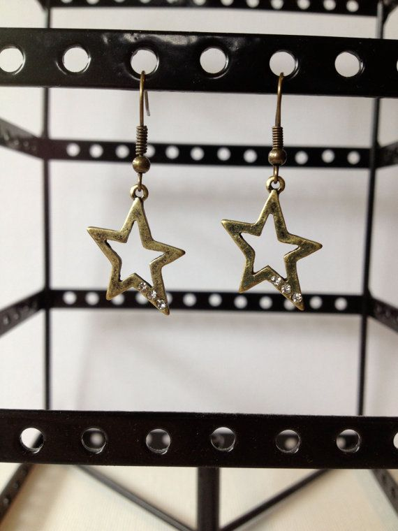 Brass Dangle Star Earrings With Jewels
