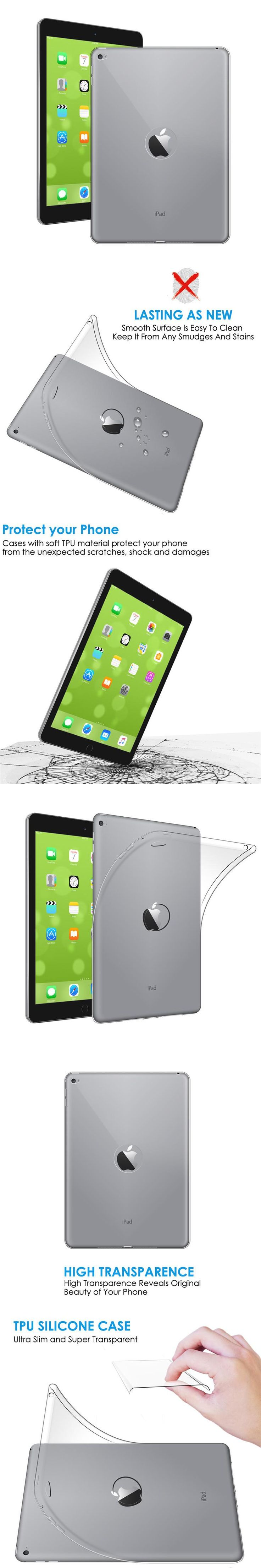 Qosea For Apple i Pad Air2 Case Ultra-thin Anti-Knock Slim Silicone Soft TPU Coque For I Pad Air 2 Transparent Protective Cover