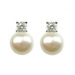 Pearl Earrings - 8-9 mm Freshwater Pearls, Button Stud Earrings - on Sterling Silver posts, with clear diamante inlays