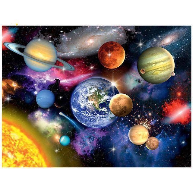 Space Planet Diamond Painting Kit Diy In 2020 Planet Painting Diamond Painting Cross Paintings