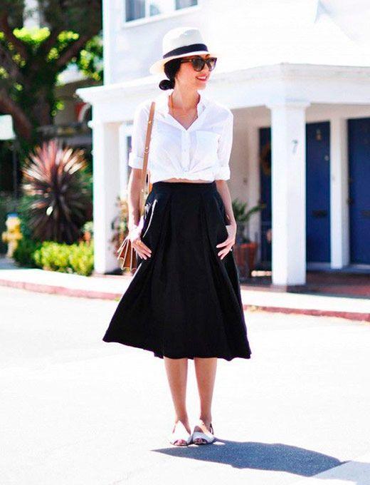 Como usar saias rodadas | Conjunto d saia midi, Ideias fashion, Roupas para usar com chapéu