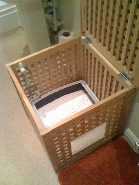 IKEA hack to hide a litter box.  Could also use it as a hidden kitty bed.