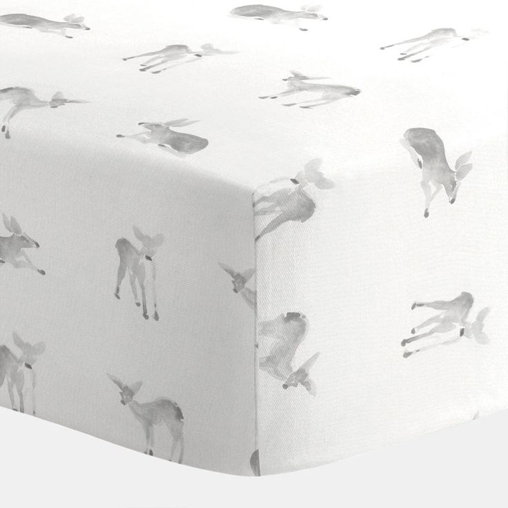 Crib Fitted Sheet in and Silver Gray Fawns by Carousel Designs.