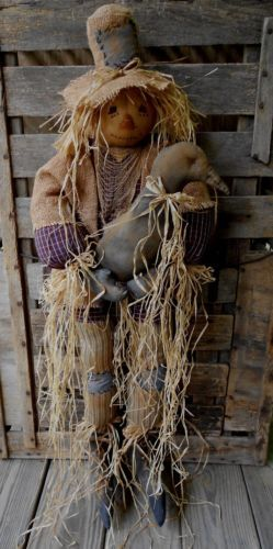 Primitive Halloween Fall Scarecrow Doll*Raggadees by mom & me <2
