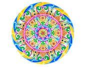 Arte dei mandala tramite acquerello per meditazione e decorazione casa. Geometria sacra con fiore di loto. Carta di cotone 100%.