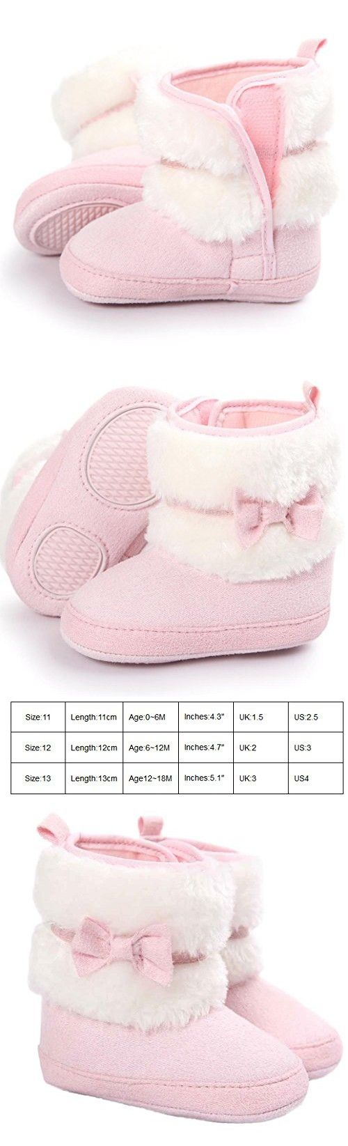 Voberry Baby Toddler Girls Boys Winter Warm Snow Boot Fur Trimmed Boots Outdoor (6~12Month, Pink)