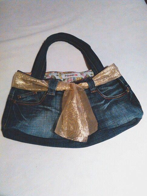 Borsa jeans con fiocco oro