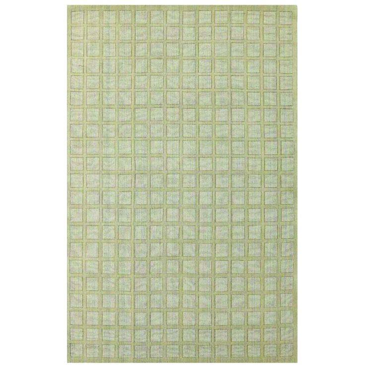 """Domani Symmetry Cubed Beige Rug (3'3 x 5'3 ) (Symmetry 2051 Cubed Beige 3'3"""" x 5'3""""), Green (Wool, Stripe)"""