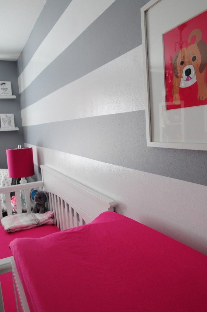 wall colors: Wall Colors, Idea, Girls Room, Hot Pink, Awesome Colors, Awesome Wall, Gray Stripes