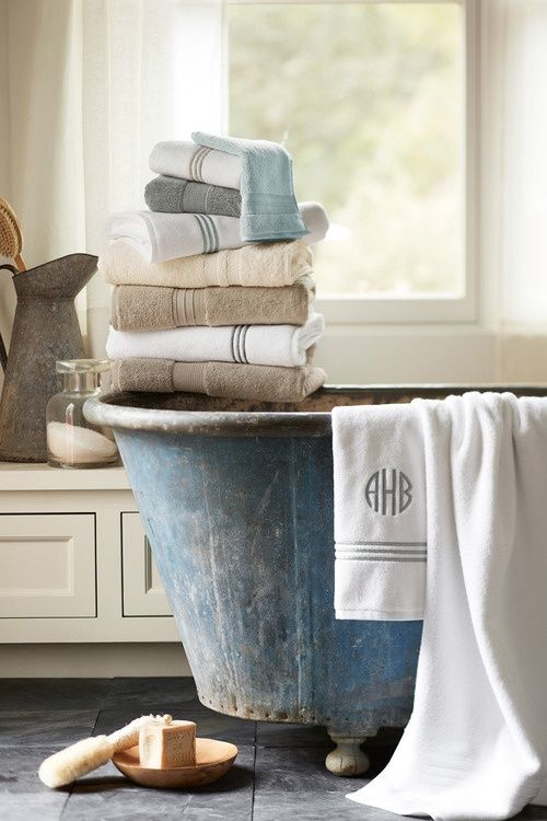 old bathe new towels neutral colours.  Repinned by www.silver-and-grey.com