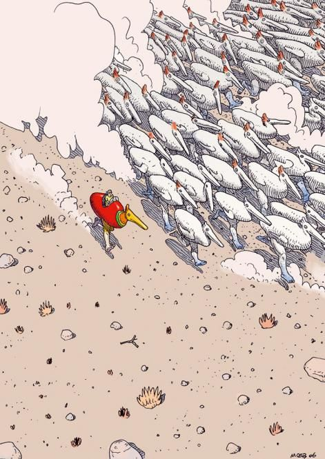Moebius, pilot: at the controls of a mechanical duck, by artist & illustrator Moebius. via el pais