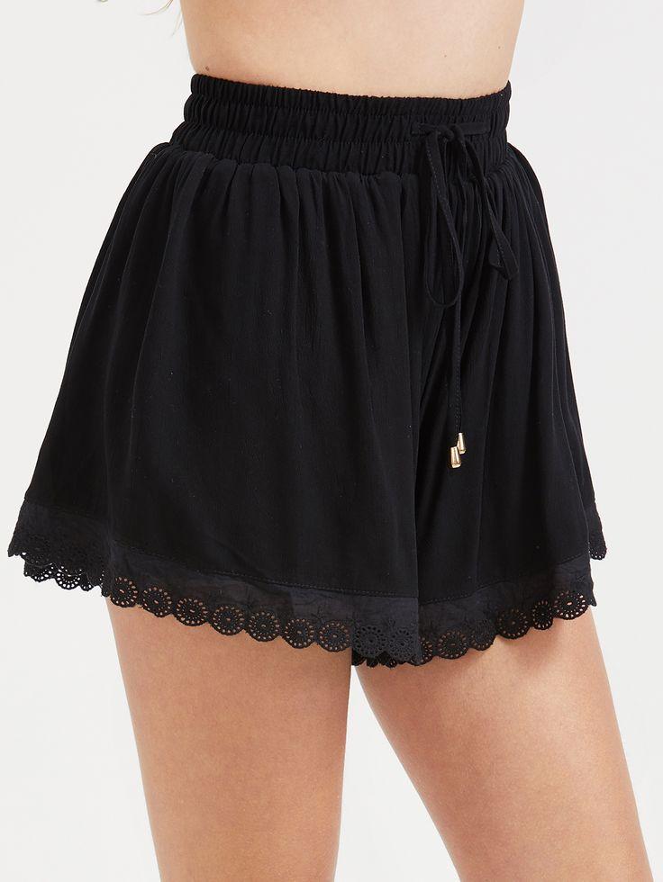 Shop Black Drawstring Contrast Eyelet Lace Hem Shorts online. SheIn offers Black Drawstring Contrast Eyelet Lace Hem Shorts & more to fit your fashionable needs.