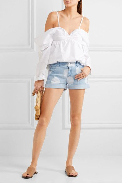 Stella McCartney - Bleached Denim Shorts - Light denim -