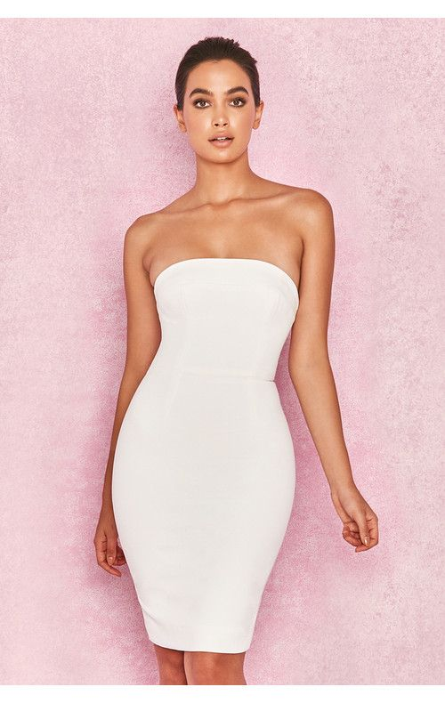e63a55b1e1 Rinah White Strapless Stretch Crepe Mini Dress