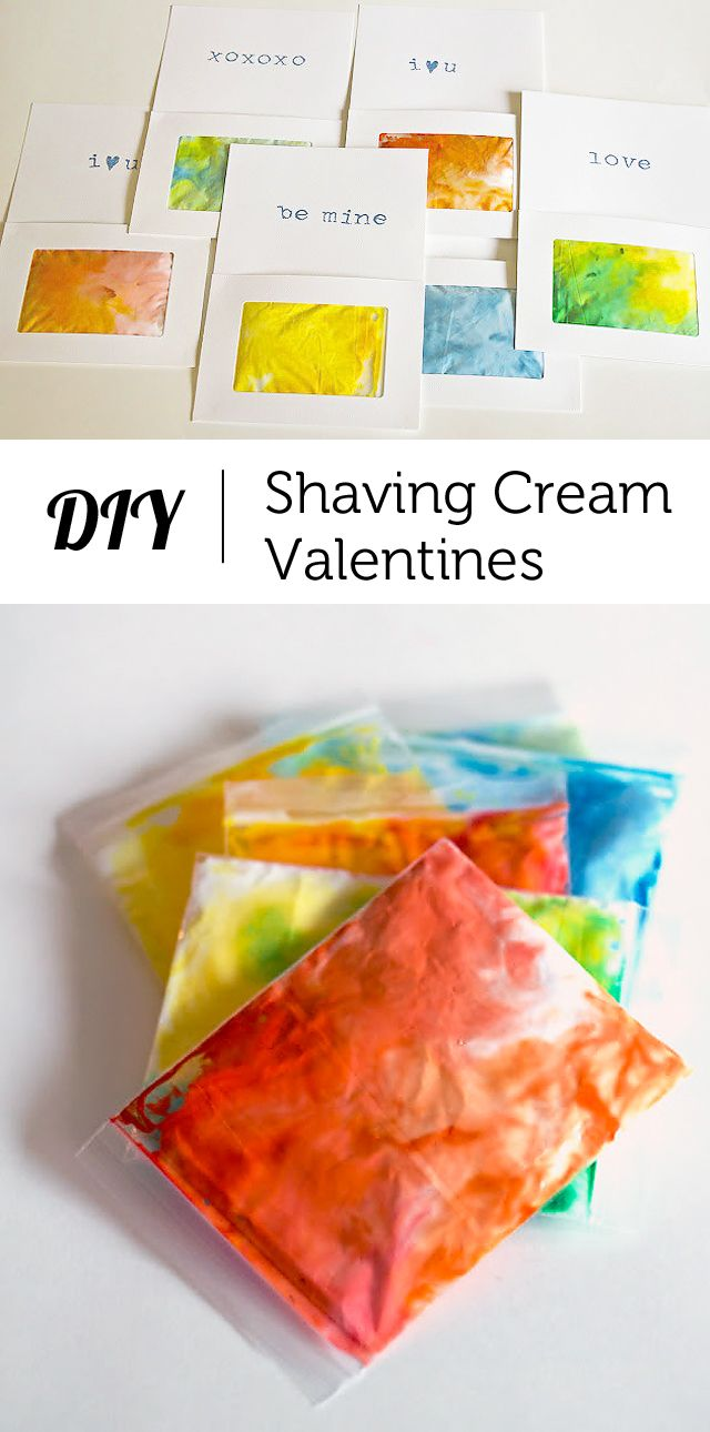 """An interactive sensory Valentine that allows kids to """"draw"""" on pretty shaving cream art... This was a huge hit at our school!"""