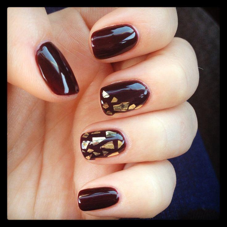 Marilyn Merlot Gel Polish-- Gold Flecks Glitter-- Fall