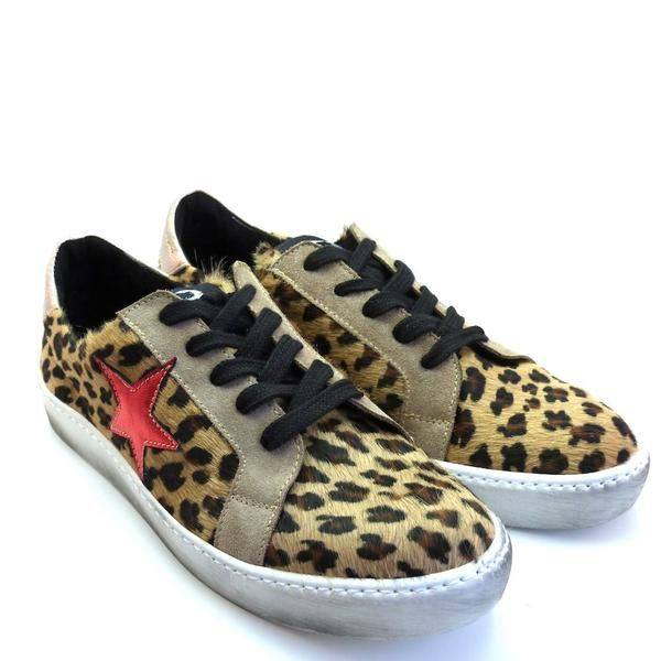Distressed Leopard Sneakers With Colored Star