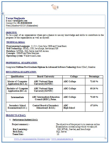 Professional Curriculum Vitae / Resume Template   Sample Template of Latest MCA BCA Fresher Resume Sample in Beautiful Format with Career Objective Professional Curriculum Vitae Free Download in Word Doc (2 Page Resume) (Click Read More for Viewing and Downloading the Sample)  ~~~~ Download as many CV's for MBA, CA, CS, Engineer, Fresher, Experienced etc / Do Like us on Facebook for all Future Updates ~~~~