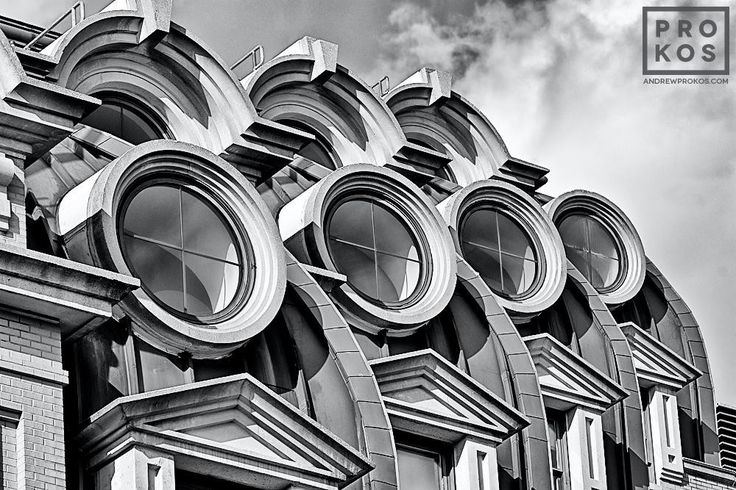 A view of the windows of the famous Willard Hotel in black and white, Washington DC