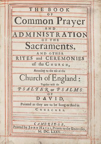 LADY AMELIA ATHOLL'S BOOK OF COMMON PRAYER The book of common prayer and administration of the sacraments, and other rites and ceremonies of the Church, according to the use of the Church of England: together with the Psalter or Psalms of David, pointed as they are to be sung or said in churches, Cambridge, John Hayes, 1675